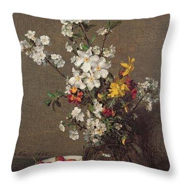 Spring Bouquet Throw Pillow by Ignace Henri Jean Fantin-Latour