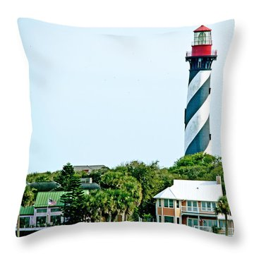St. Augustine Lighthouse Throw Pillow by Kenneth Albin
