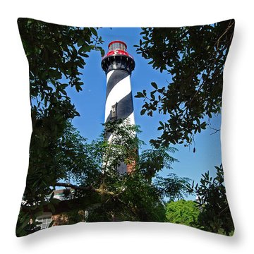 St Augustine Lighthouse Throw Pillow by Skip Willits