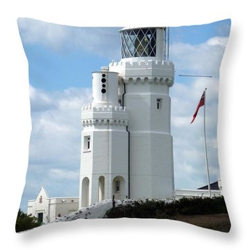 St. Catherine's Lighthouse Throw Pillow by Carla Parris