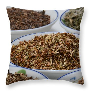 St Johns Wort Dried Herb Throw Pillow by Photo Researchers, Inc.