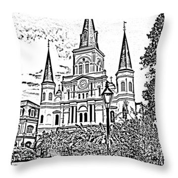 St Louis Cathedral Jackson Square French Quarter New Orleans Photocopy Digital Art  Throw Pillow by Shawn O'Brien