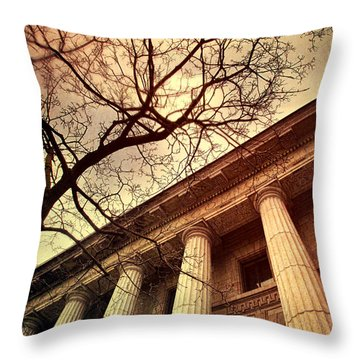 Stark Facade Of Justice Courthouse From Low Angel View  Throw Pillow by Sandra Cunningham