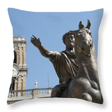 Statue Of Marcus Aurelius On Capitoline Hill Rome Lazio Italy Throw Pillow by Bernard Jaubert