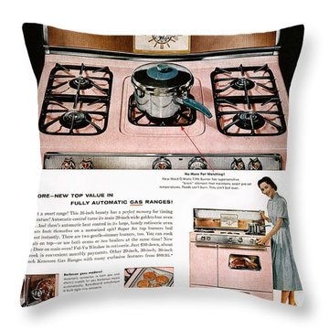 Stove Advertisement, 1957 Throw Pillow by Granger