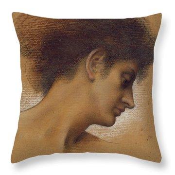 Study Of A Head Throw Pillow by Evelyn De Morgan