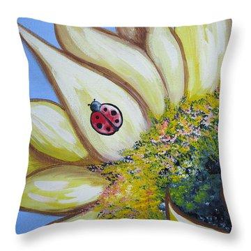 Sunflower And Ladybug Throw Pillow
