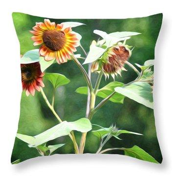 Sunflower Power Throw Pillow by Bill Cannon