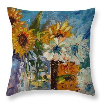 Sunflower Still Life Throw Pillow