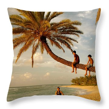 Sunset Beach Oahu Throw Pillow