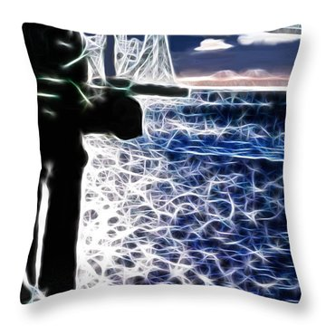 Sunset On The Columbia River Throw Pillow by Methune Hively