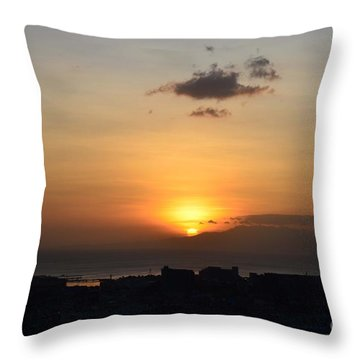 Sunset Upon The Ocean  Throw Pillow