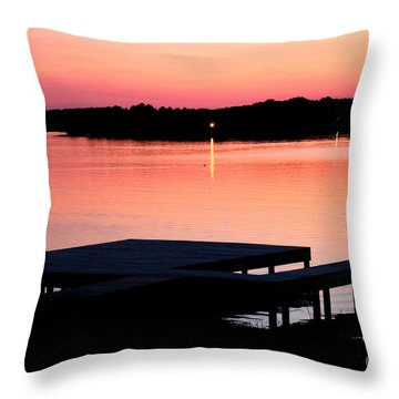 Throw Pillow featuring the photograph Sunset View From Dockside by Kathy  White