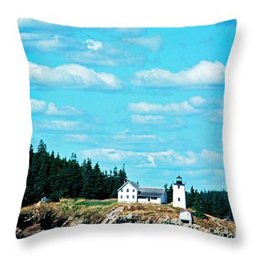 Swans Island Lighthouse Throw Pillow by Thomas R Fletcher