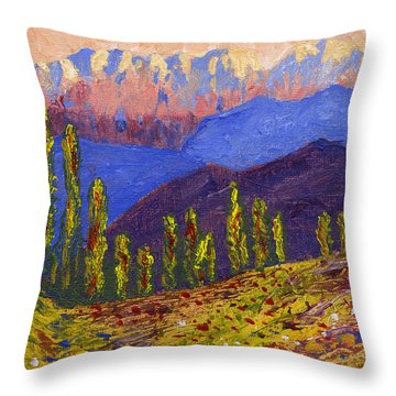 Swiss Alps Impasto Throw Pillow by Edward McNaught-Davis