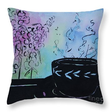 Tea And Snap Dragons Throw Pillow by Jan Bennicoff