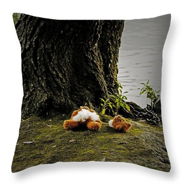 Teddy Without Head Throw Pillow by Joana Kruse