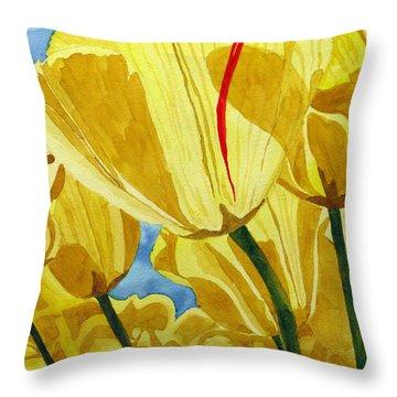 Tender Tulips Throw Pillow by Debi Singer