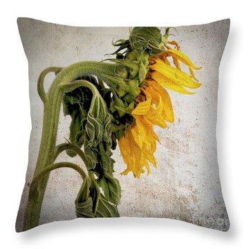 Textured Sunflower Throw Pillow by Bernard Jaubert