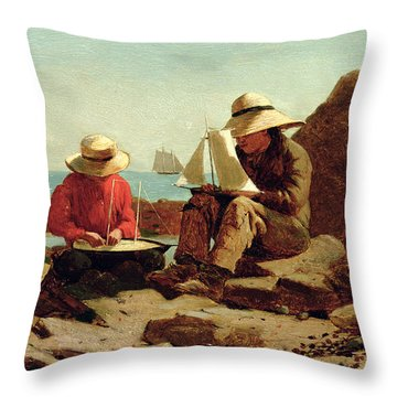 The Boat Builders Throw Pillow by Winslow Homer