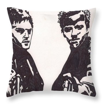 Throw Pillow featuring the drawing The Boondock Saints by Jeremiah Colley