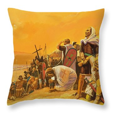 The Crusades Throw Pillow by Gerry Embleton