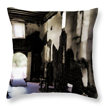 The Ghostly Nave Throw Pillow by Donna Greene