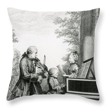 The Mozart Family On Tour, 1763 Throw Pillow by Photo Researchers