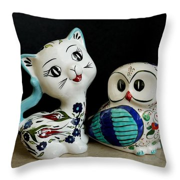 The Owl And The Pussy Cat Throw Pillow by John Chatterley