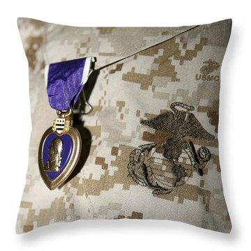 The Purple Heart Award Throw Pillow by Stocktrek Images