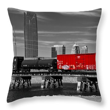 The Red Box Car Throw Pillow by Doug Long