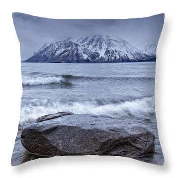 The Shoreline Of Kathleen Lake In Late Throw Pillow by Robert Postma