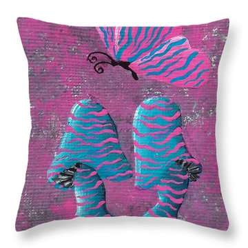 Throw Pillow featuring the painting The Zebra Effect by Oddball Art Co by Lizzy Love