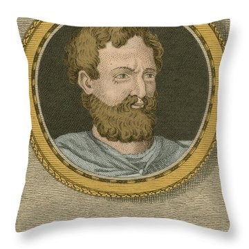Theophrastus, Ancient Greek Polymath Throw Pillow by Science Source