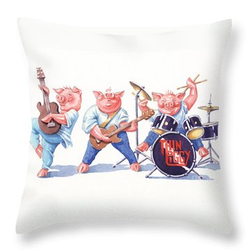 Thin Piggy Throw Pillow
