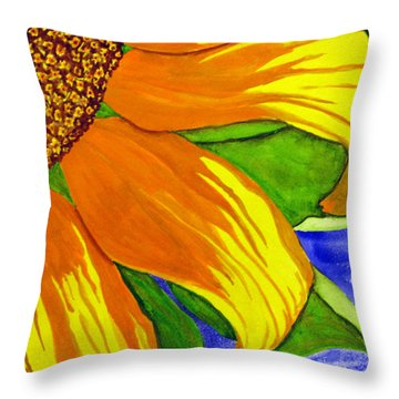 This Is No Subdued Sunflower Throw Pillow
