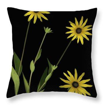 Three Yellow Flowers Throw Pillow by Deddeda