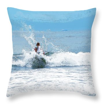Throw Pillow featuring the photograph Through The Wave Blues by Maureen E Ritter