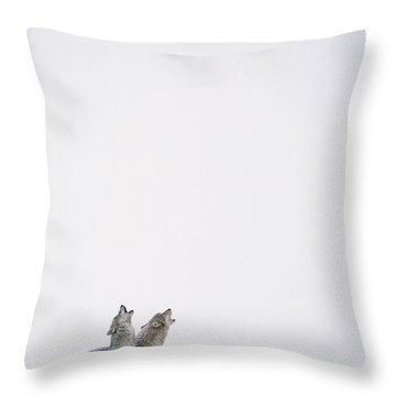 Timber Wolf Pair Howling In Snow North Throw Pillow