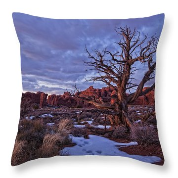 Timed Exposure Of Sunset Clouds Throw Pillow by Robert Postma