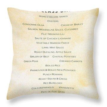 Titanic: Menu, 1912 Throw Pillow by Granger