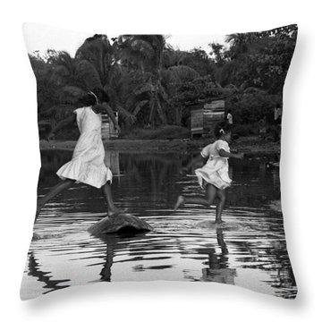 Tortoise Jumping Throw Pillow by Michael Mogensen