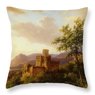 Travellers On A Path In An Extensive Rhineland Landscape Throw Pillow by Barend Cornelis Koekkoek