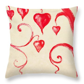 Tree Of Heart Painting On Paper Throw Pillow by Setsiri Silapasuwanchai