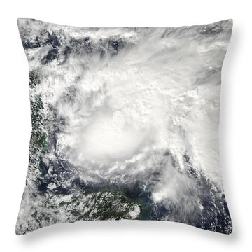 Tropical Storm Ida In The Caribbean Sea Throw Pillow by Stocktrek Images