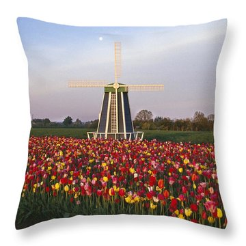 Tulip Field And Windmill Throw Pillow by Natural Selection Craig Tuttle