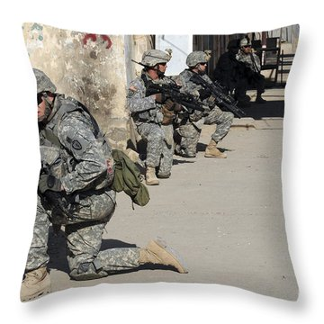 U.s. Army Soldiers Providing Security Throw Pillow by Stocktrek Images