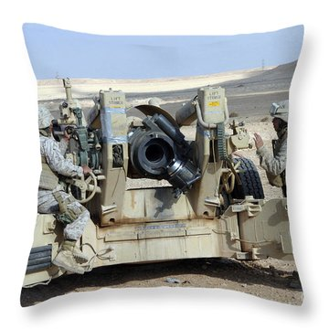 U.s. Marines Prepare To Fire A Howitzer Throw Pillow by Stocktrek Images