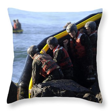 U.s. Navy Seal Candidates Participate Throw Pillow by Stocktrek Images