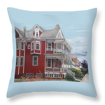 Victorian Afternoon Cape May Throw Pillow by Barbara Barber